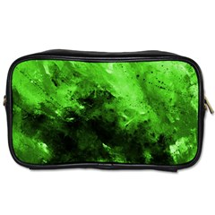 Bright Green Abstract Toiletries Bags 2 Side