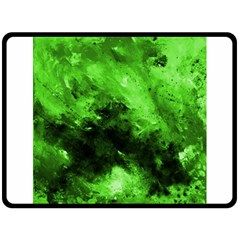 Bright Green Abstract Fleece Blanket (Large)