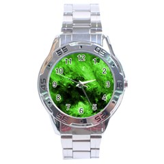 Bright Green Abstract Stainless Steel Men s Watch