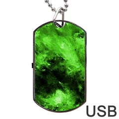 Bright Green Abstract Dog Tag Usb Flash (two Sides)