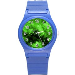 Bright Green Abstract Round Plastic Sport Watch (s)