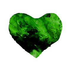 Bright Green Abstract Standard 16  Premium Heart Shape Cushions