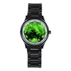 Bright Green Abstract Stainless Steel Round Watches