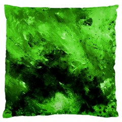 Bright Green Abstract Large Flano Cushion Cases (One Side)