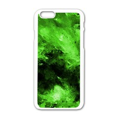 Bright Green Abstract Apple iPhone 6 White Enamel Case