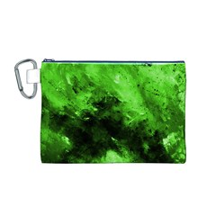 Bright Green Abstract Canvas Cosmetic Bag (M)