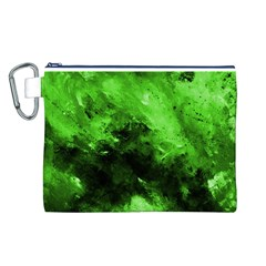 Bright Green Abstract Canvas Cosmetic Bag (L)