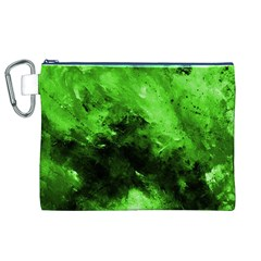 Bright Green Abstract Canvas Cosmetic Bag (XL)