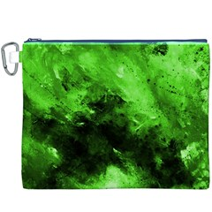 Bright Green Abstract Canvas Cosmetic Bag (XXXL)