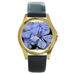 Bright Blue Flowers Round Gold Metal Watches
