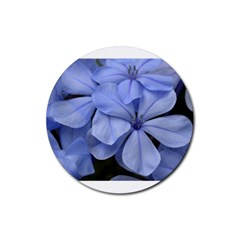 Bright Blue Flowers Rubber Round Coaster (4 Pack)