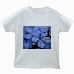 Bright Blue Flowers Kids White T-Shirts