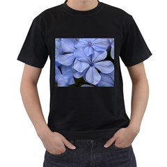 Bright Blue Flowers Men s T Shirt (black) (two Sided)