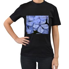Bright Blue Flowers Women s T-Shirt (Black) (Two Sided)