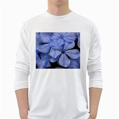 Bright Blue Flowers White Long Sleeve T-Shirts