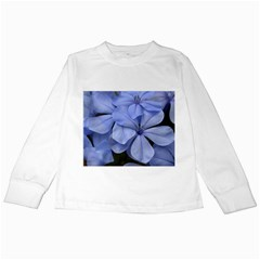 Bright Blue Flowers Kids Long Sleeve T-Shirts