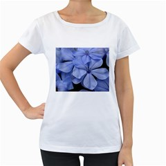 Bright Blue Flowers Women s Loose-Fit T-Shirt (White)