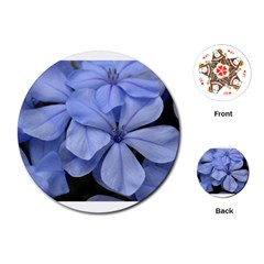 Bright Blue Flowers Playing Cards (round)