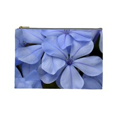 Bright Blue Flowers Cosmetic Bag (large)