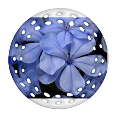Bright Blue Flowers Ornament (Round Filigree)