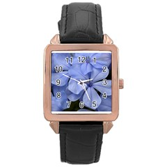 Bright Blue Flowers Rose Gold Watches