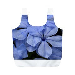 Bright Blue Flowers Full Print Recycle Bags (m)
