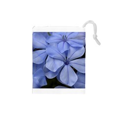 Bright Blue Flowers Drawstring Pouches (small)