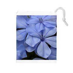 Bright Blue Flowers Drawstring Pouches (large)