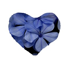 Bright Blue Flowers Standard 16  Premium Flano Heart Shape Cushions