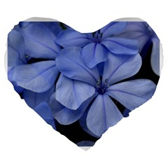 Bright Blue Flowers Large 19  Premium Flano Heart Shape Cushions