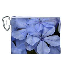 Bright Blue Flowers Canvas Cosmetic Bag (L)