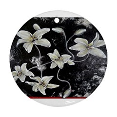 Black And White Lilies Ornament (round)