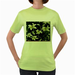 Black And White Lilies Women s Green T Shirt