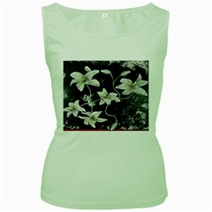 Black And White Lilies Women s Green Tank Tops