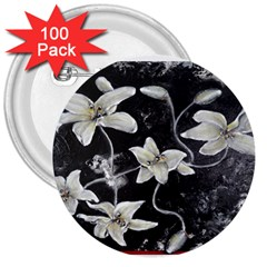 Black And White Lilies 3  Buttons (100 Pack)
