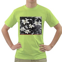 Black and White Lilies Green T-Shirt