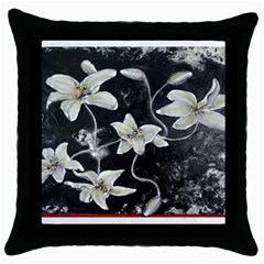 Black And White Lilies Throw Pillow Cases (black)