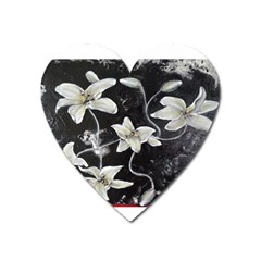Black And White Lilies Heart Magnet