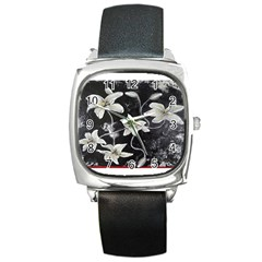 Black And White Lilies Square Metal Watches