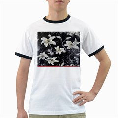 Black and White Lilies Ringer T-Shirts