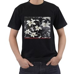 Black and White Lilies Men s T-Shirt (Black) (Two Sided)