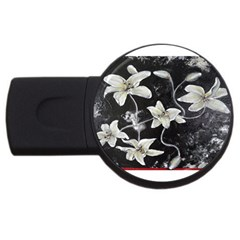 Black And White Lilies Usb Flash Drive Round (4 Gb)