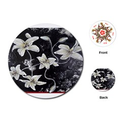 Black and White Lilies Playing Cards (Round)