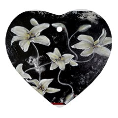 Black And White Lilies Heart Ornament (2 Sides)