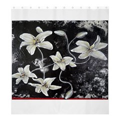 Black and White Lilies Shower Curtain 66  x 72  (Large)