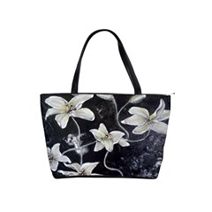 Black And White Lilies Shoulder Handbags