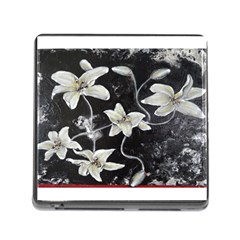Black And White Lilies Memory Card Reader (square)