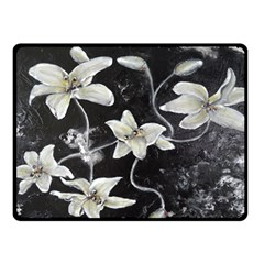 Black and White Lilies Fleece Blanket (Small)