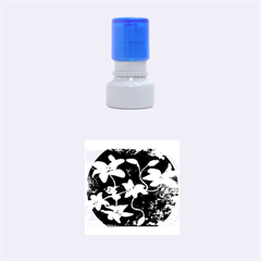 Black And White Lilies Rubber Round Stamps (small)