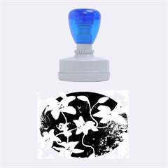 Black and White Lilies Rubber Oval Stamps
